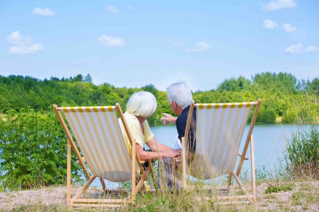 relaxing senior couple