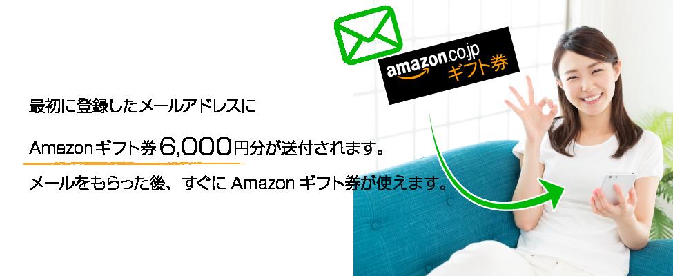 最初に登録したメールアドレスにAmazonギフト券6000円分が送付されます。メールをもらった後、すぐにAmazonギフト券が使えます。